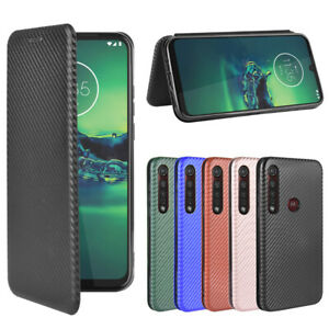 For Motorola Flip Carbon Fiber Pattern Stand Leather Wallet Magnetic Case Cover