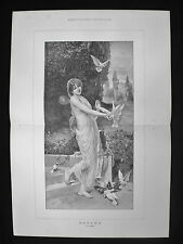 PSYCHE by A GESSNER / ANCIENT GREEK MYTHOLOGY DOVES OLD VICTORIAN PRINT 1893