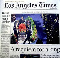 Michael Jackson Newspaper Los Angeles Times 2009 Tribute MJ Thriller King Of Pop