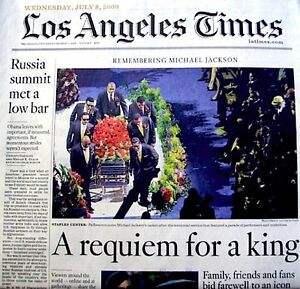 Michael Jackson Newspaper Los Angeles Times 2009 Tribute MJ Thriller King Of Pop