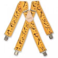 Brimarc Mens Heavy Duty Trouser Suspender 50mm Wide Yellow Tape Measure Braces