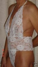 stretch lace thong back playsuit 16/18 white