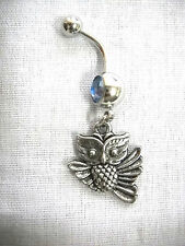 NEW PEWTER FLYING HOOT OWL GRADUATION CHARM ON BABY BLUE CZ 14g NAVEL BELLY RING