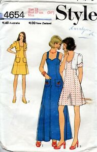 70s Style Sewing Pattern 4654 Misses Bolero and Dress in Two Lengths Size 12