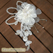Pince cheveux broche mariage bapteme communion fete strass dentelle perles