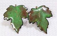 Vintage Copper Painted Enamel Green Brown Maple Leaf Screw Back Earrings