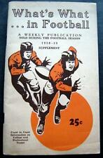 Vintage What's What in Football Booklet 1938-39 Supplement Info College & Pro