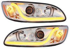 Peterbilt 386 387 Projection Headlight Pair Chrome Lens w/ LED Glo Position Bar