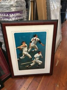 Autographed Mickey Mantle Willie Mays Duke Snider 16x20 By Rudy Garcia JSA Auth.