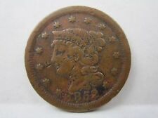1852 Braided Hair Large Cent 1c Red Brown  Two One Cent Pieces