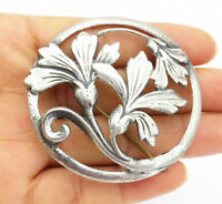 925 Sterling Silver - Vintage Antique Sculpted Flowers Round Brooch Pin- BP3904