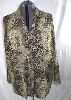 Plus sz 30/32 Avenue Blouse Top Shirt Womens Long Sleeve Multicolor Animal Print