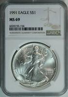 1991 American Eagle Silver Dollar / 1 Oz / NGC MS69 / Mint State 69 🇺🇸 w/bonus