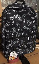 Harry Potter Deathly Hallows Always Symbols Backpack Book Bag + 9 3/4 Bracelet