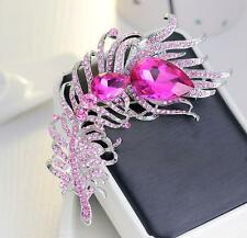 Large Peacock Feather Brooch Diamante Rhinestone Crystal Silver Broach Party Pin