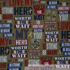 BonEful Fabric FQ Cotton Quilt VTG Army Green America*n Flag Military Word Love