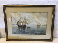 Vintage Large Watercolor Nautical Seascape Painting w/ Ships & Boats