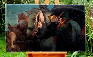 herrliches Ölgemälde Kutscher m. seinen Pferden signiert Seyffert Künstlerarbeit