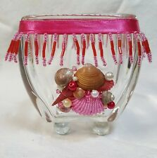 Sea shell votive candle holder with glass marble feet