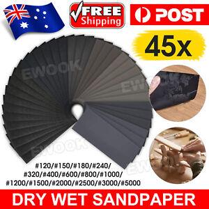 45Pcs Wet&Dry Sandpaper Polishing Abrasive Waterproof Paper Sheets 120-5000 Grit