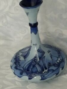 Moorcroft Pottery Blue On Blue Vase Designed By J MOORCROFT excellent condition