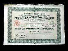 PÉTROLES DE TCHÉCOSLOVAQUIE -  PART FONDATEUR PARIS 1930