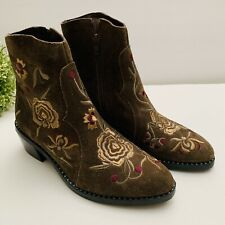 Jeffrey Campbell Women's US 8 Ankle Bootie Trisul Embroidered Suede Brown