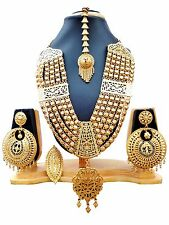 22K Gold Plated Indian 4 Lines Ball Set Necklace Earrings Tikka Ring wedding