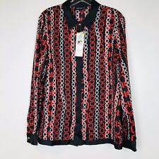 Jones New York Collection Chain Print Blouse Size 14 NWT