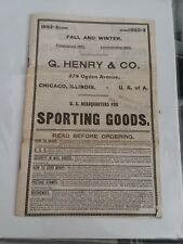 Original 1892-93 G. Henry & Co. sporting Goods Catalog