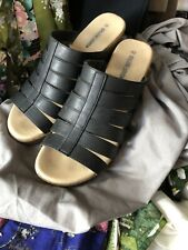 "Womens Size 41 Strappy Shoes, Slip On, Black Faux Leather, 2.5"" Heel"