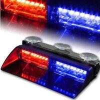 Car 16 LED Red & Blue Police Strobe Flash Light Dash Emergeny Flashing Light
