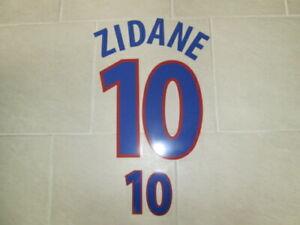 Flocage ZIDANE pour maillot blanc équipe de France 2000 patch shirt