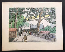 Paris  1940's Two Old Signed Crayon Drawings  Book Sellers And Montmartre