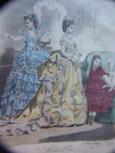 MODES DE PARIS  ENGRAVING  FRENCH FASHION  LADIES  FRAMED ART 1870's VINTAGE