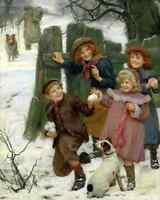 Here He Comes- Elsley 8x10 Print Victorian Children Winter Snowball Games Dog 85