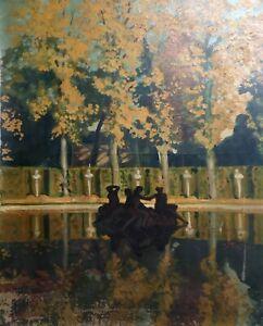 Tableau ancien signé, Importante huile sur toile à restaurer, Fontaine, Parc