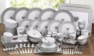 Waterside 80 Piece Grey Love Porcelain Complete Fine China Porcelain Dinner Set
