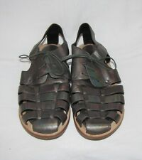 Gentle Souls Pewter Woven Leather Lace Up Fisherman Closed Toe Sandal Shoe 6.5