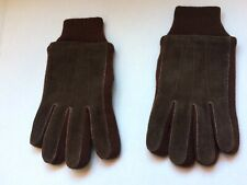 New Vintage Brown Suede & Knit Gloves Lined Mens Size Xl Nos