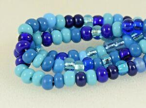 """Czech Glass Seed Beads Size 6/0 """" MIXTURE CAPRI BLUE """" Strands"""