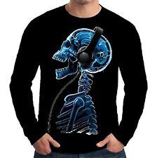 Velocitee Mens Long Sleeve T-Shirt Skelephones DJ Music Skull Skeleton A18616
