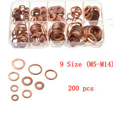 200pcs M5-M14 Solid Copper Washers Hardware Flat Ring Sump Plug Oil Seal Gasket