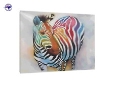 FRAMED LARGE OIL PAINTING MODERN ART DECOR HAND PAINTED COLORFUL ZEBRA ANIMAL
