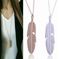 Vintage Women Feather Pendant Gold Silver Long Chain Necklace Statement Jewelry