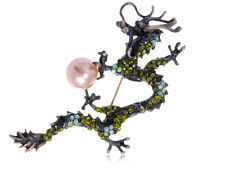 Citrino Perlas de Imitación Colorido Cristal Estrás Perlas de Dragón Broche Nuevo