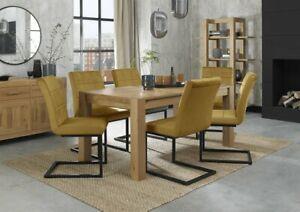 Blake Light Oak 6-8 Seater Dining Table & 6 Lewis Mustard Velvet Cantilever Chai