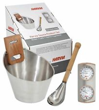 Harvia Sauna Steel Set: Bucket, Ladle, Thermo/Hygrometer