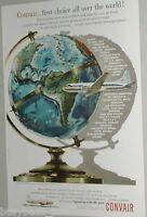 1954 Convair advertisement, Convair 240 airplane, Consolidated Vultee, globe