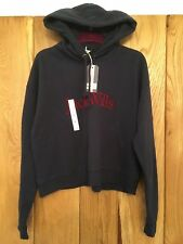 Womens Girls Jack Wills Rachford Flocked Hoodie Top Navy Blue Red Uk Size 12